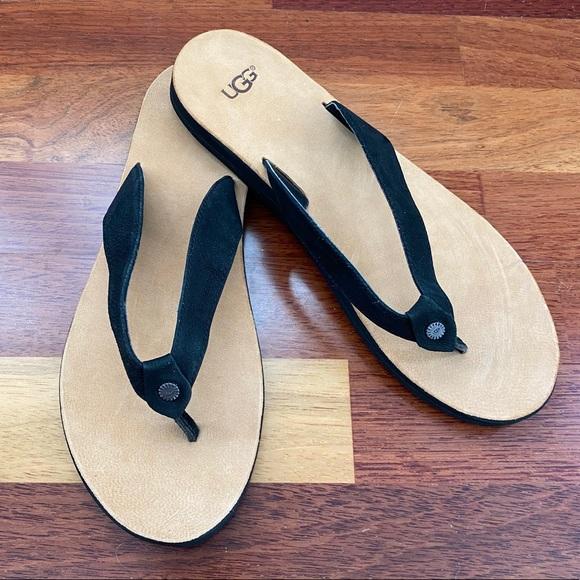 Black Suede Tawney Flip Flops Size